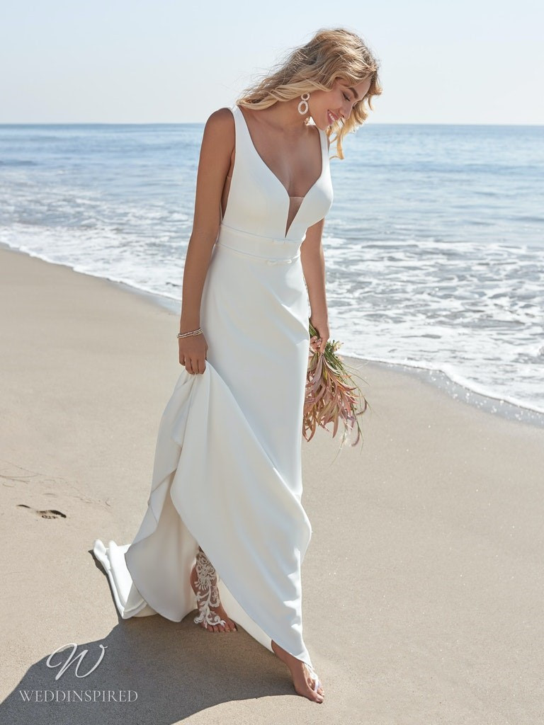 A Rebecca Ingram 2020 simple crepe mermaid wedding dress