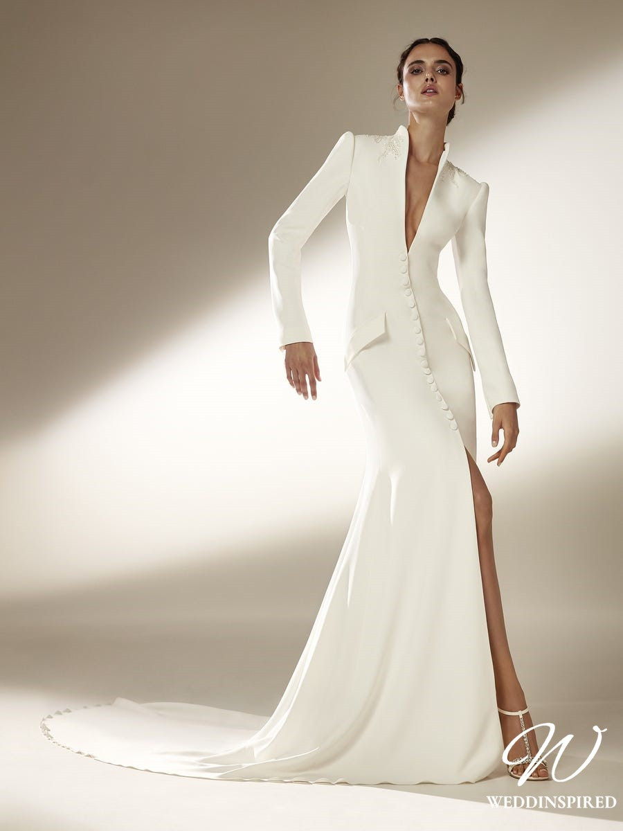 An Atelier Pronovias silk blazer style mermaid wedding dress with long sleeves, buttons and pockets