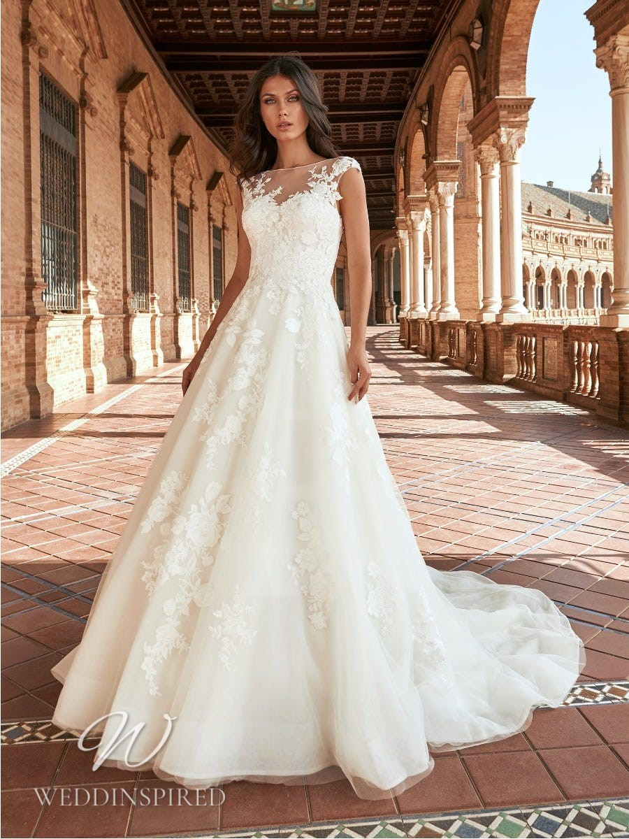 A Marchesa for Pronovias 2022 lace and tulle A-line wedding dress