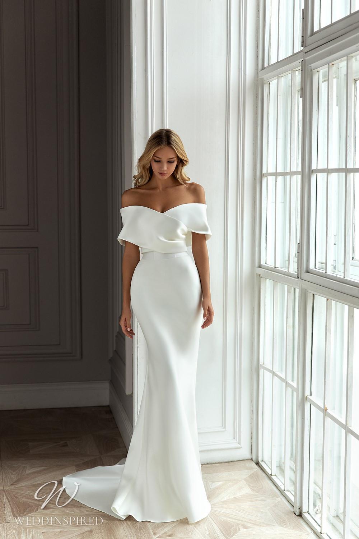 An Eva Lendel 2021 simple off the shoulder silk mermaid wedding dress