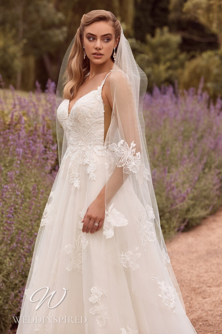 A Sophia Tolli 2021 tulle and lace A-line wedding dress