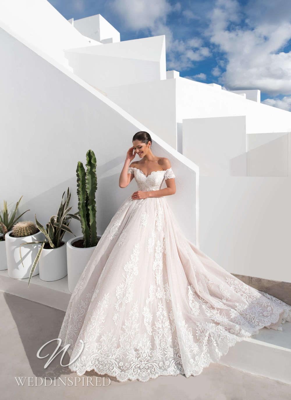 A Blunny 2021 blush lace off the shoulder princess wedding dress