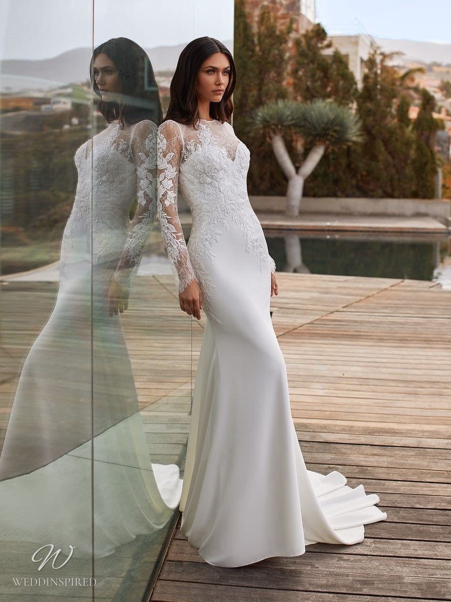 A Pronovias 2021 simple lace and silk column wedding dress with long sleeves