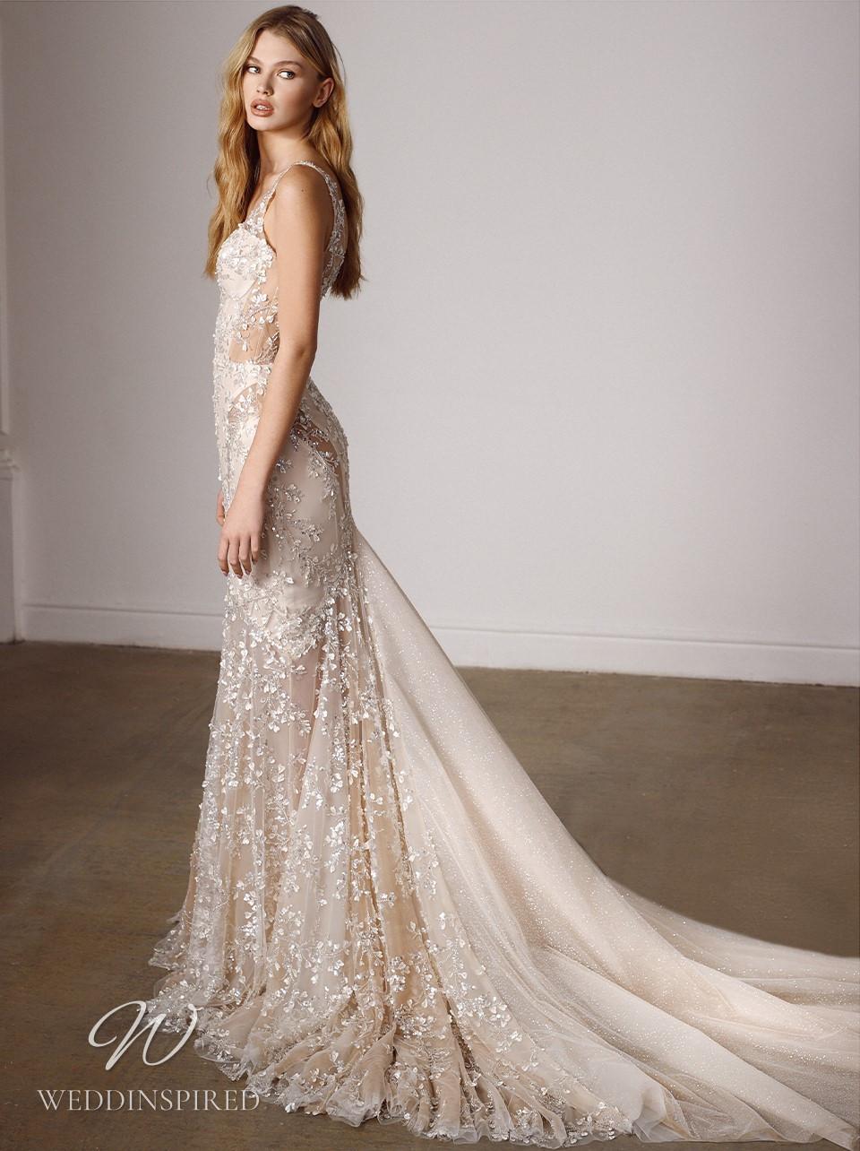 A Galia Lahav 2022 champagne mermaid wedding dress with straps