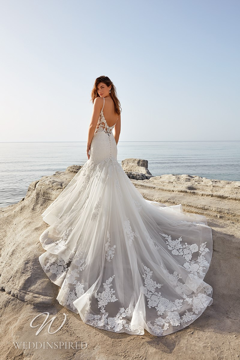 An Eddy K 2022 lace and tulle mermaid wedding dress