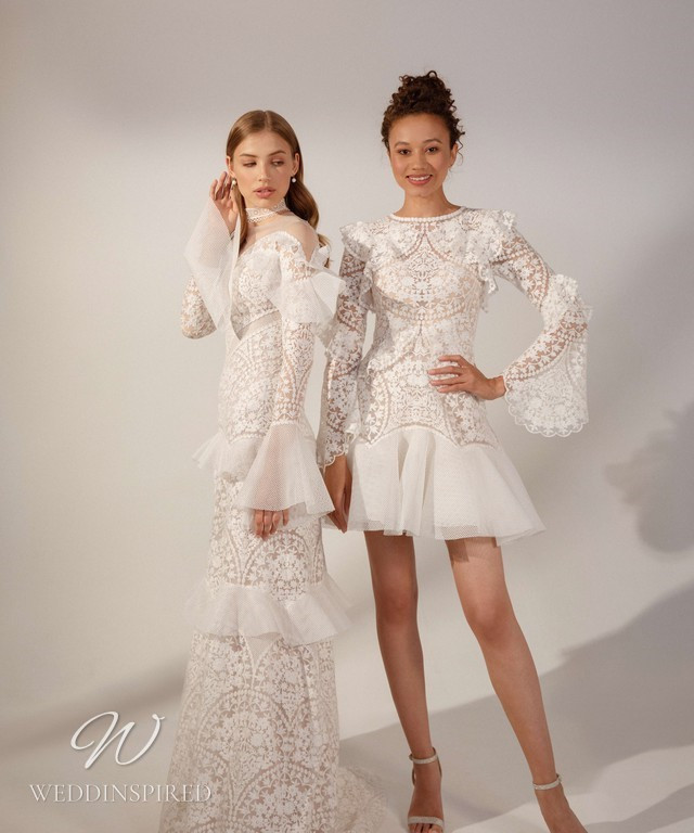 Rara Avis 2021 lace A-line and short wedding dresses with tulle ruffles