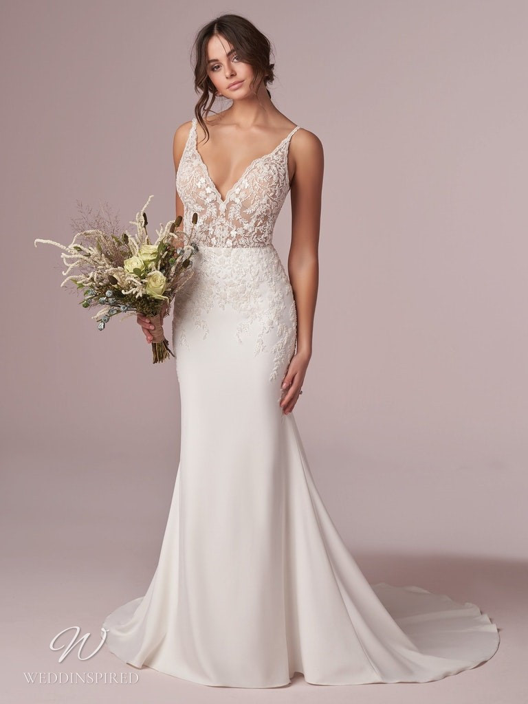 A Rebecca Ingram 2020 lace and crepe mermaid wedding dress