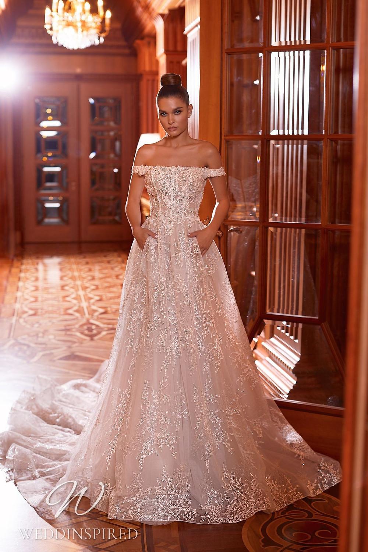 A Pollardi 2021 off the shoulder tulle A-line wedding dress