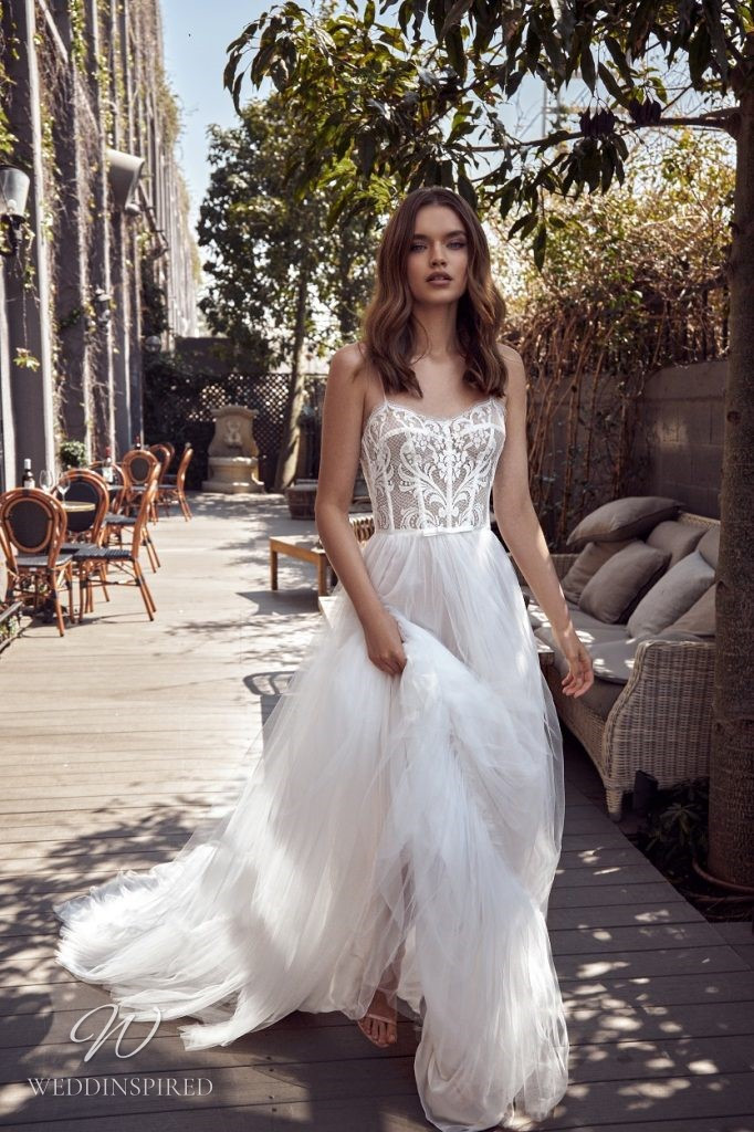 A Julie Vino 2021 lace and tulle A-line wedding dress with straps