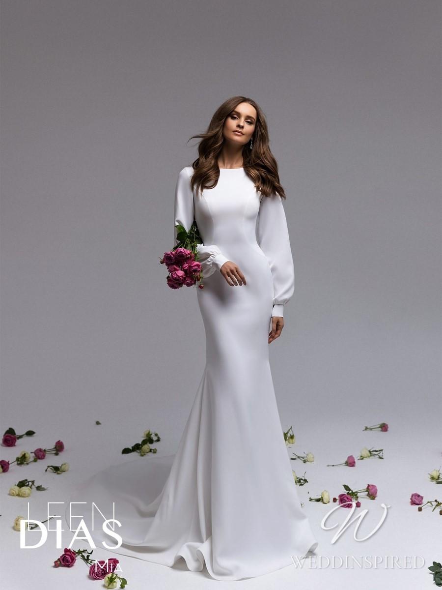 A Leen Dias 2021 modest simple satin sheath wedding dress with long sleeves