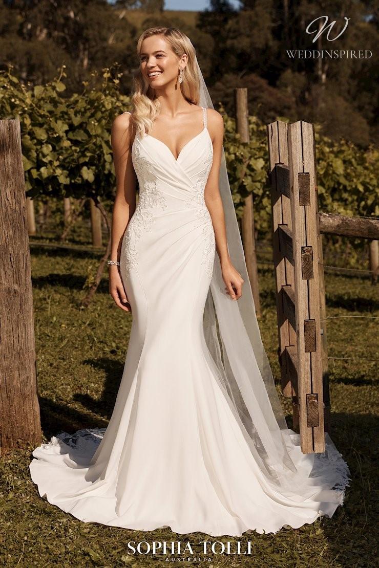 A Sophia Tolli simple mermaid wedding dress with lace