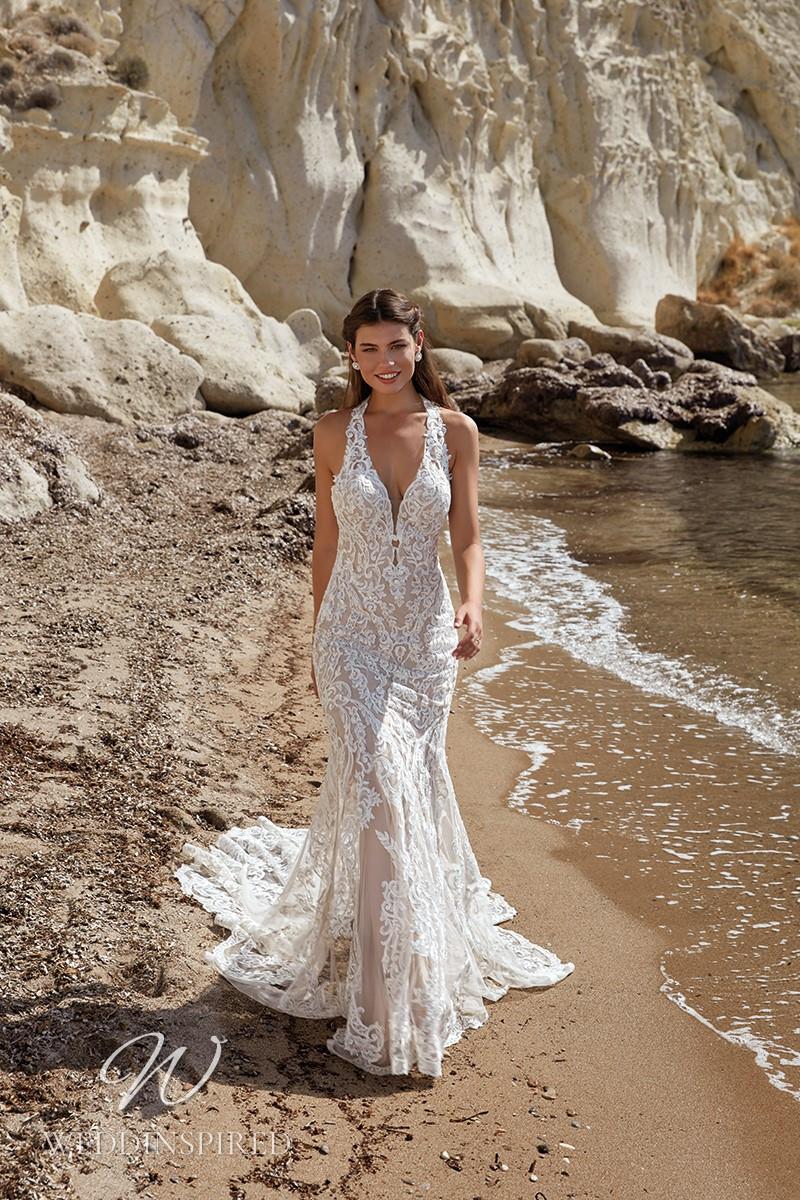 An Eddy K 2022 lace halterneck mermaid wedding dress
