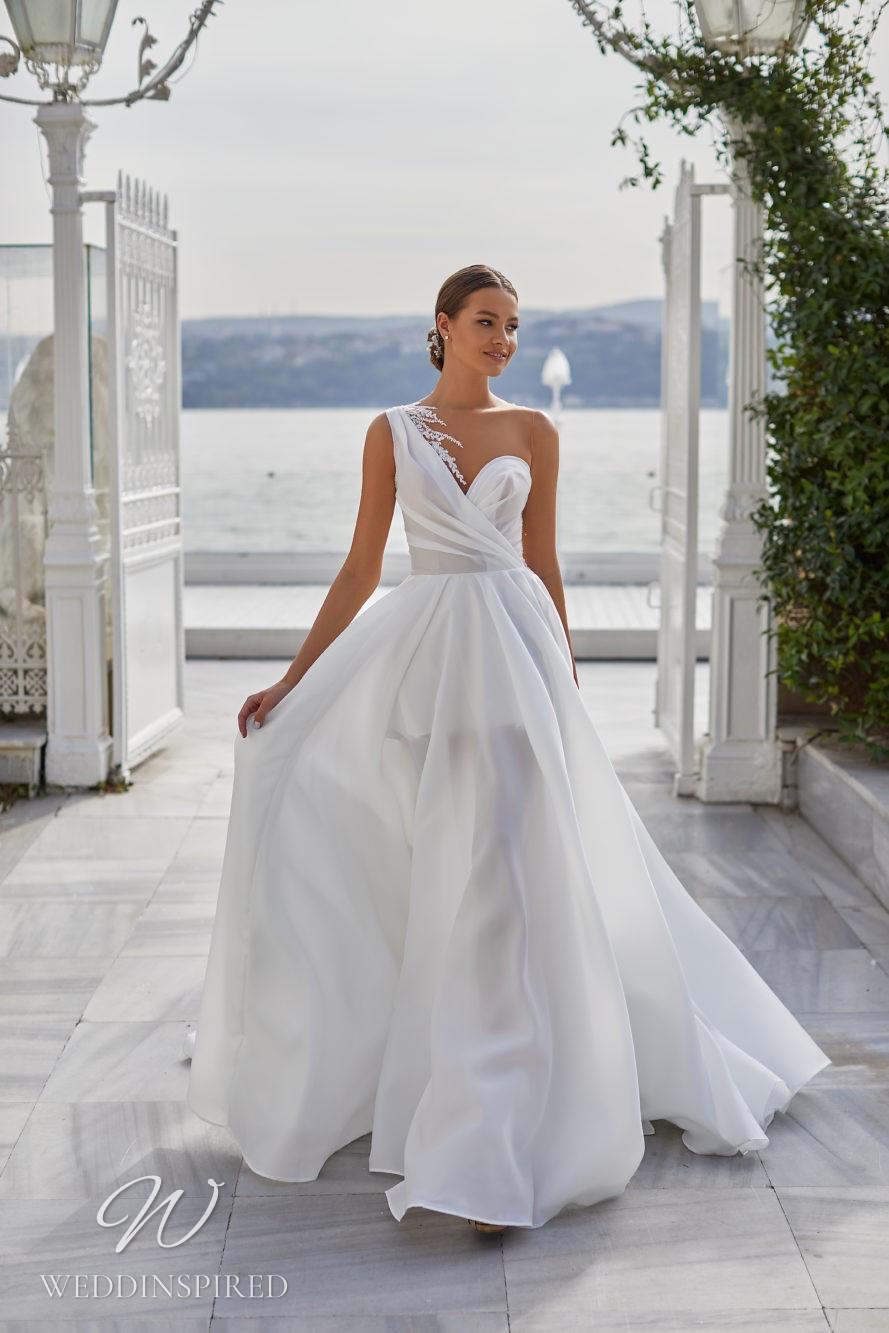 A Milla Nova 2021 satin one shoulder A-line wedding dress