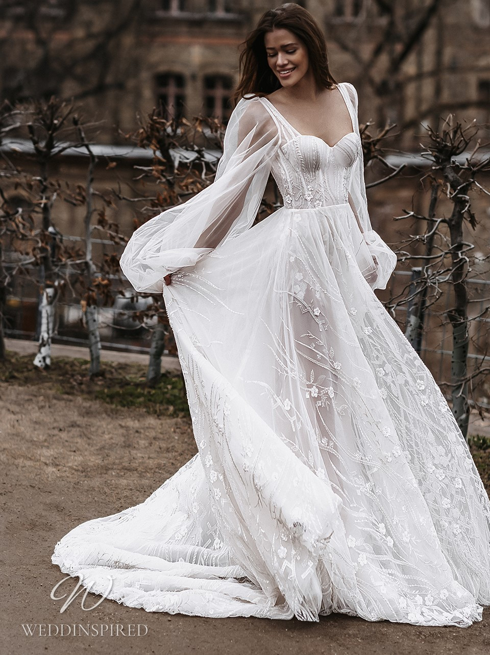 A Galia Lahav 2022 lace and tulle A-line wedding dress with long sleeves