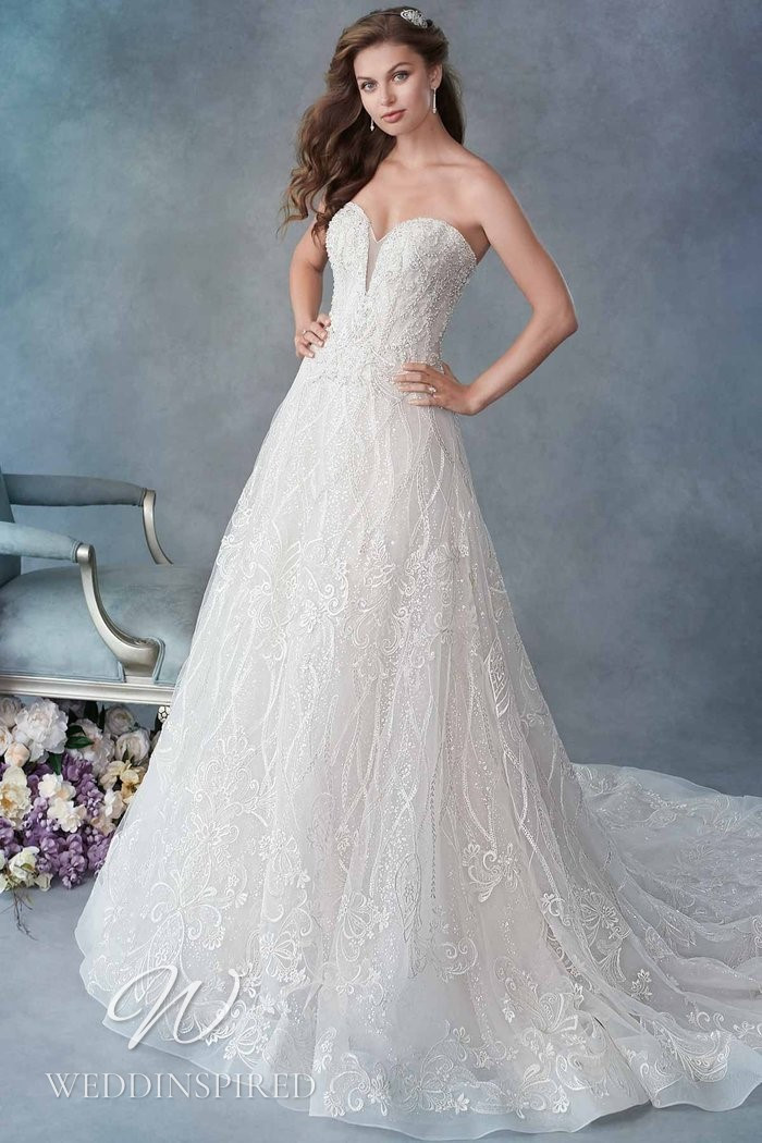 A Kenneth Winston 2021 strapless lace and tulle A-line wedding dress