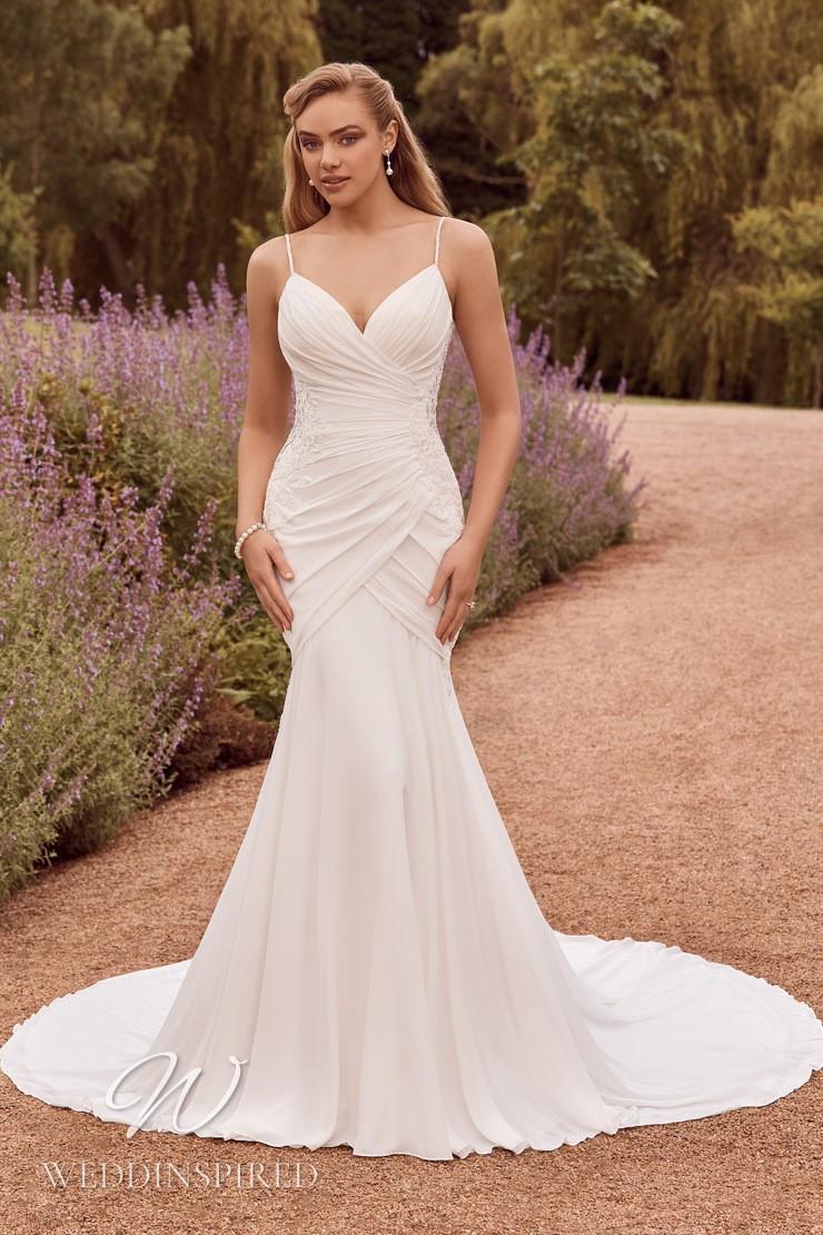 A Sophia Tolli 2021 simple satin mermaid wedding dress