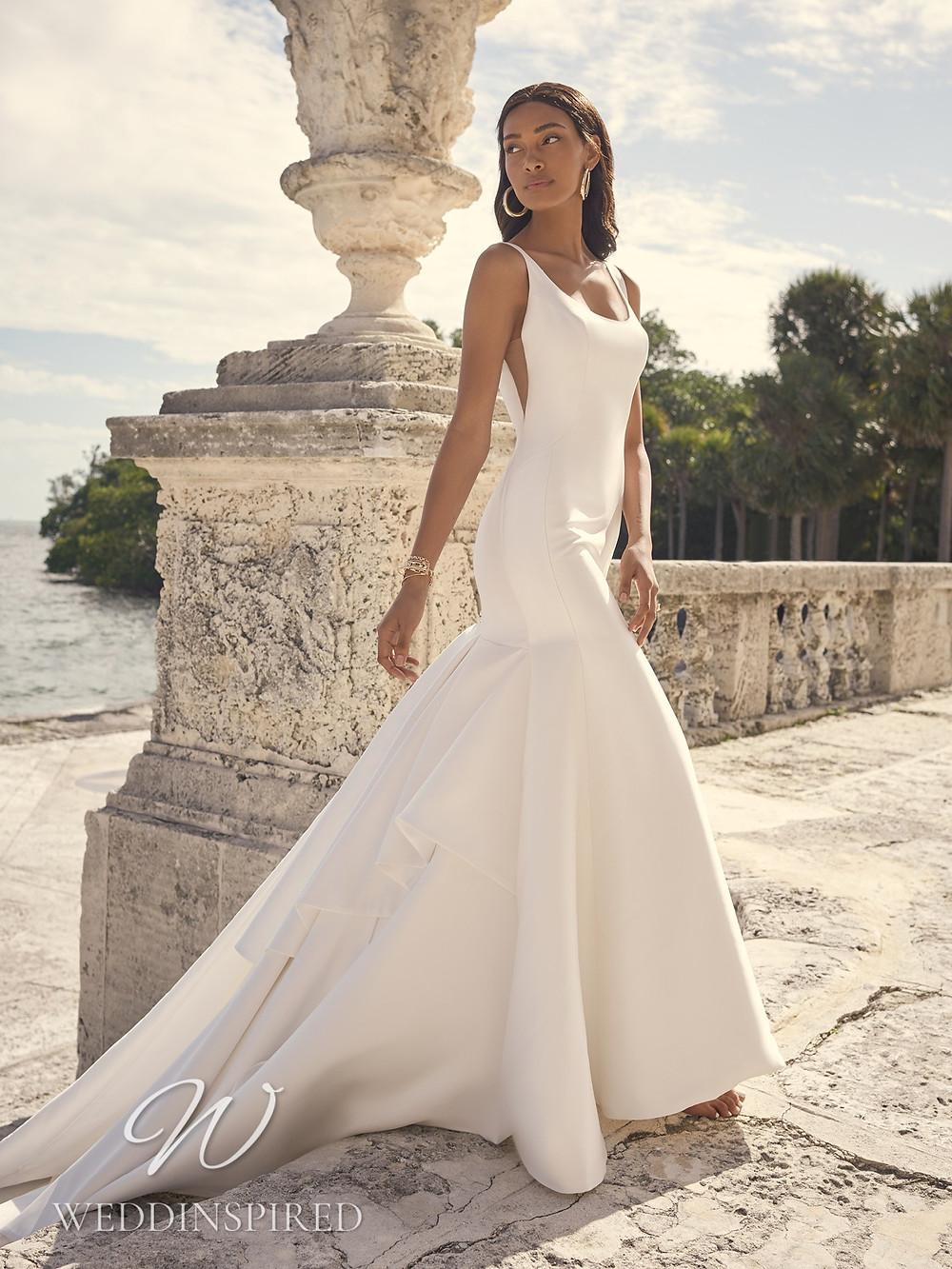 A Sottero & Midgley 2021 simple satin mermaid wedding dress