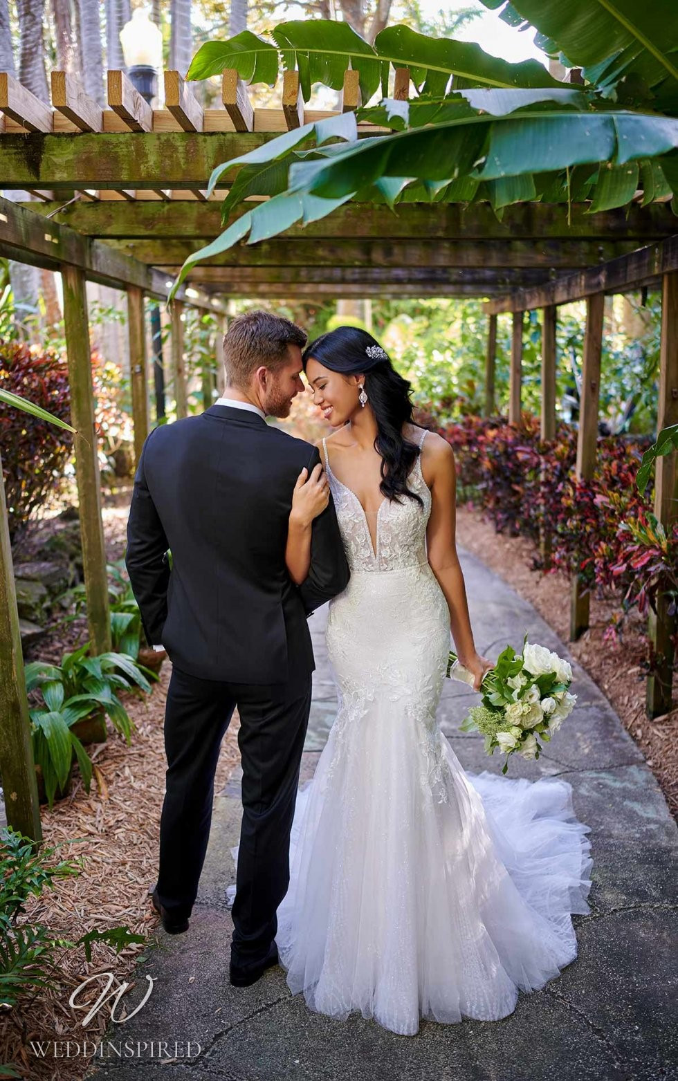 An Essense of Australia lace and tulle mermaid wedding dress