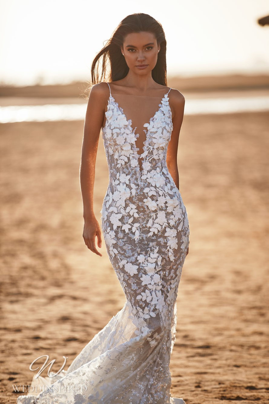 A Milla by Lorenzo Rossi 2021/2022 floral lace mermaid wedding dress with straps and a v neck