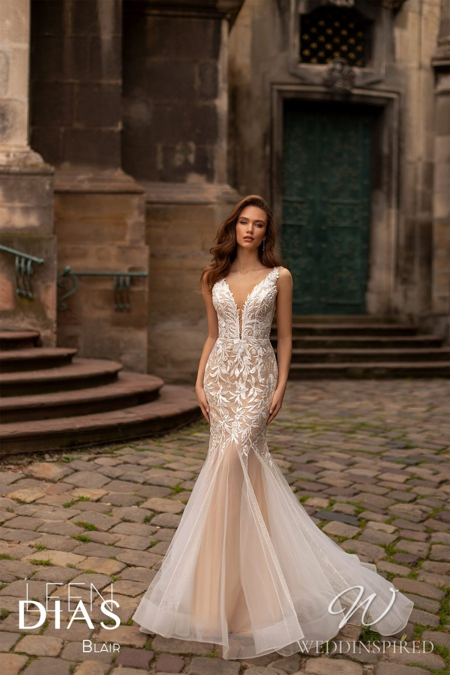 A Leen Dias 2021 lace and tulle mermaid wedding dress