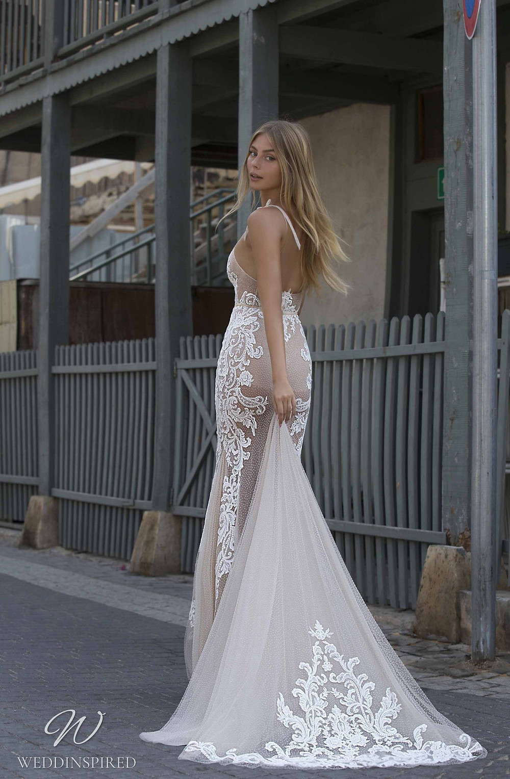 A Berta Priveé No 5 2021 nude mesh and lace mermaid wedding dress with thin straps and a v neck