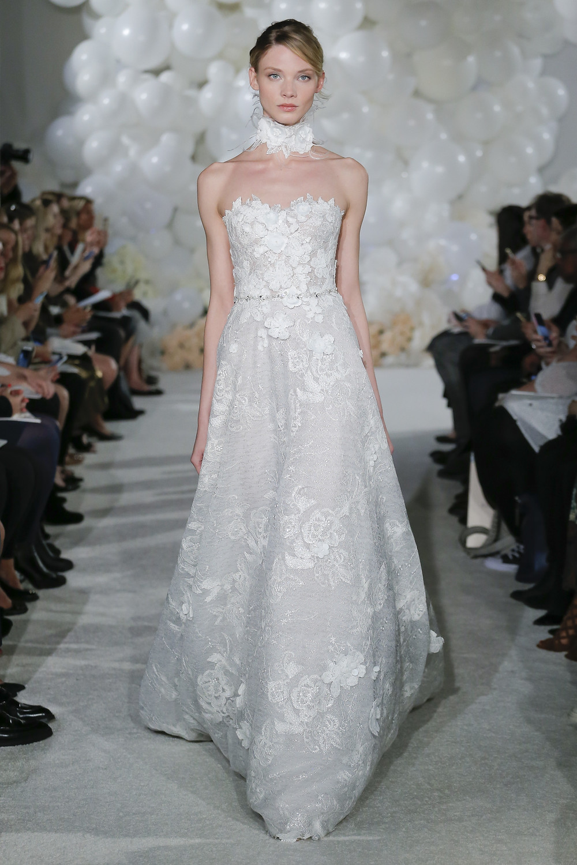 A Mira Zwillinger strapless lace A-line wedding dress