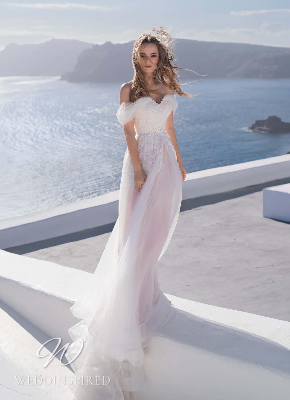 A Blunny 2021 flowy off the shoulder tulle A-line wedding dress