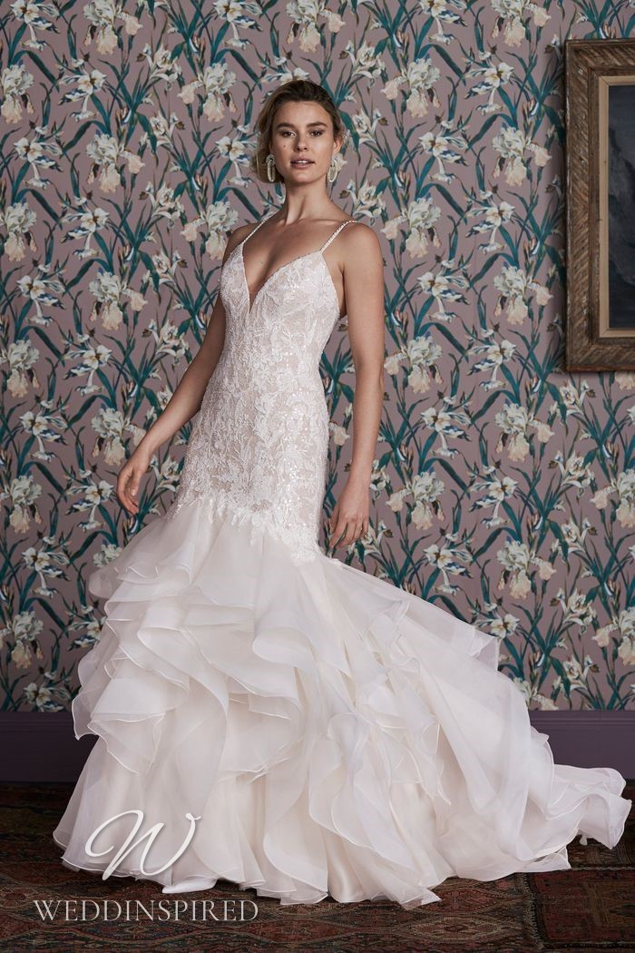 A Justin Alexander 2021 lace and tulle mermaid wedding dress