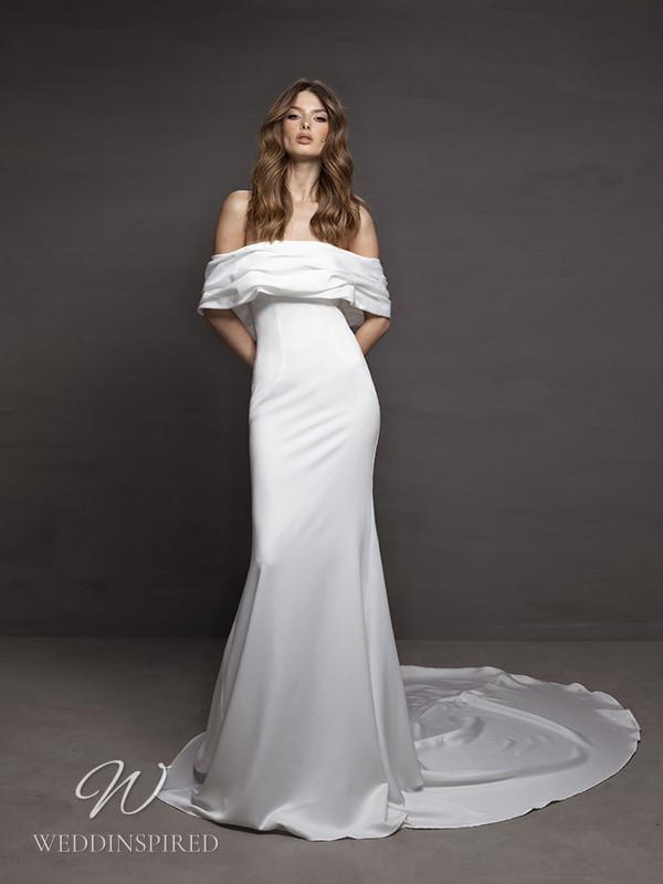 A Riki Dalal 2021 simple off the shoulder satin sheath wedding dress
