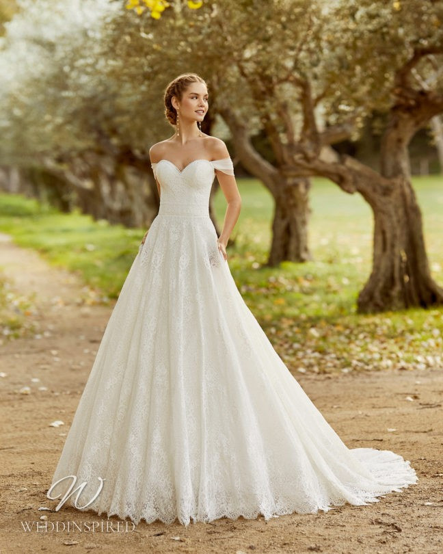 An Aire Barcelona 2021 lace off the shoulder A-line wedding dress