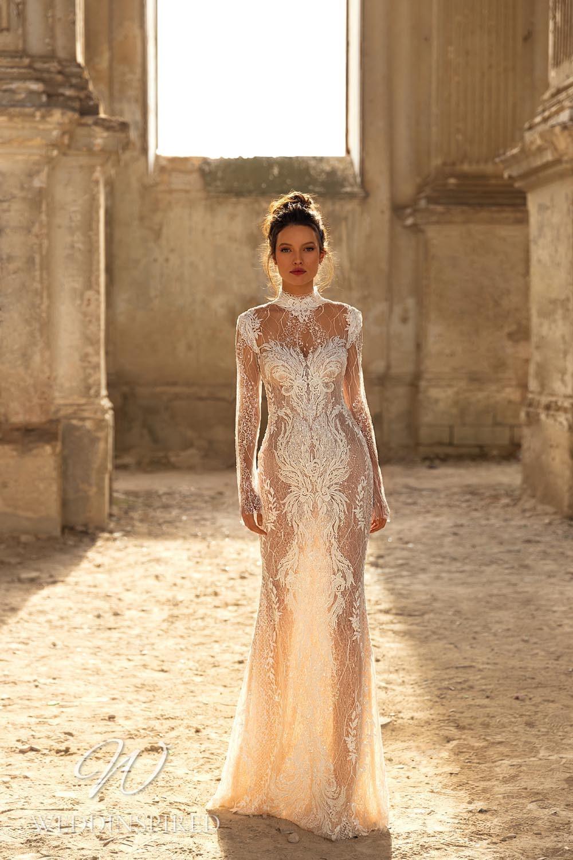 An Eva Lendel 2021 tulle sheath wedding dress with long sleeves