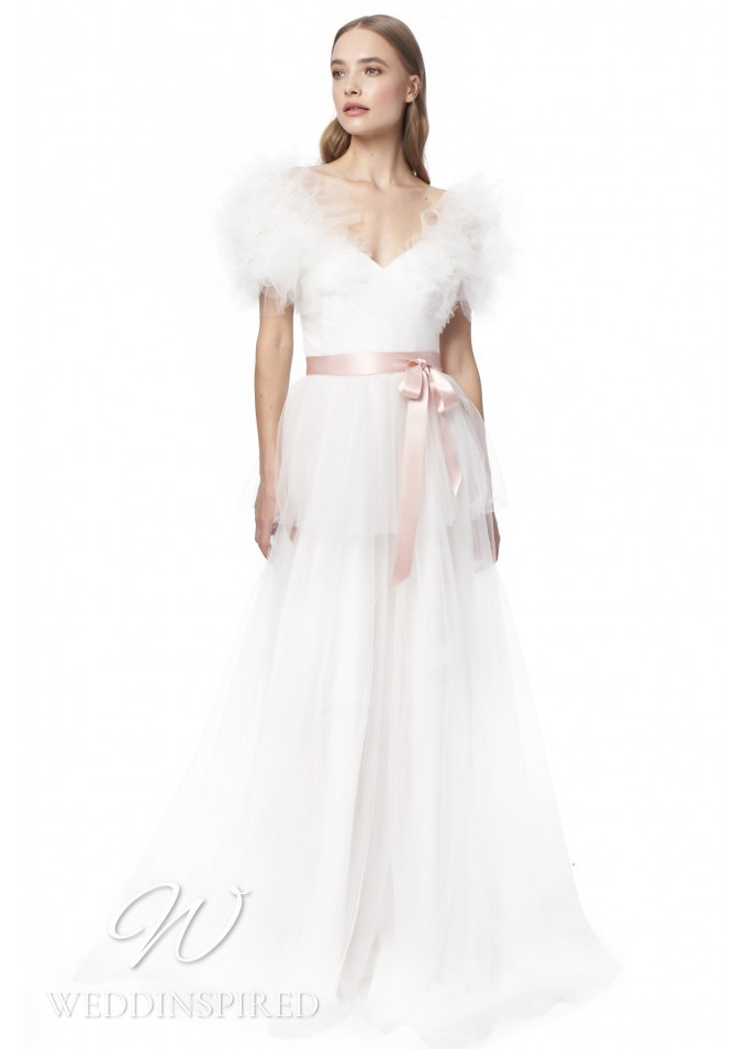 A Jenny Packham 2021 tulle off the shoulder A-line wedding dress