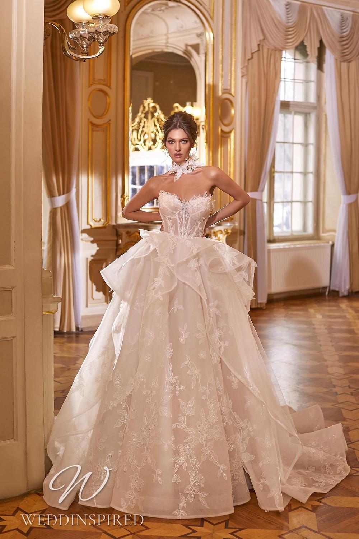 A Ricca Sposa 2022 strapless blush tulle princess wedding dress