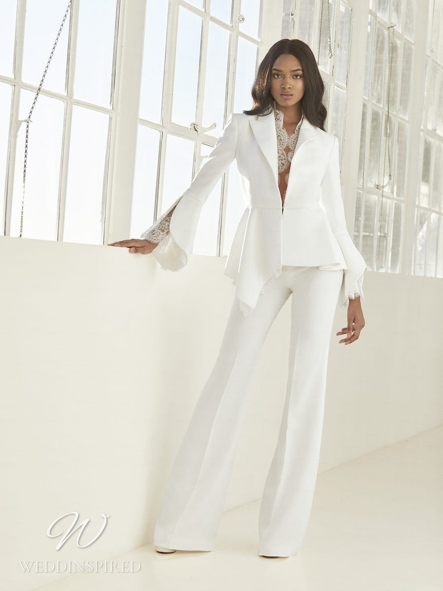 An Ashley Graham x Pronovias 2021 satin and lace wedding pantsuit or jumpsuit