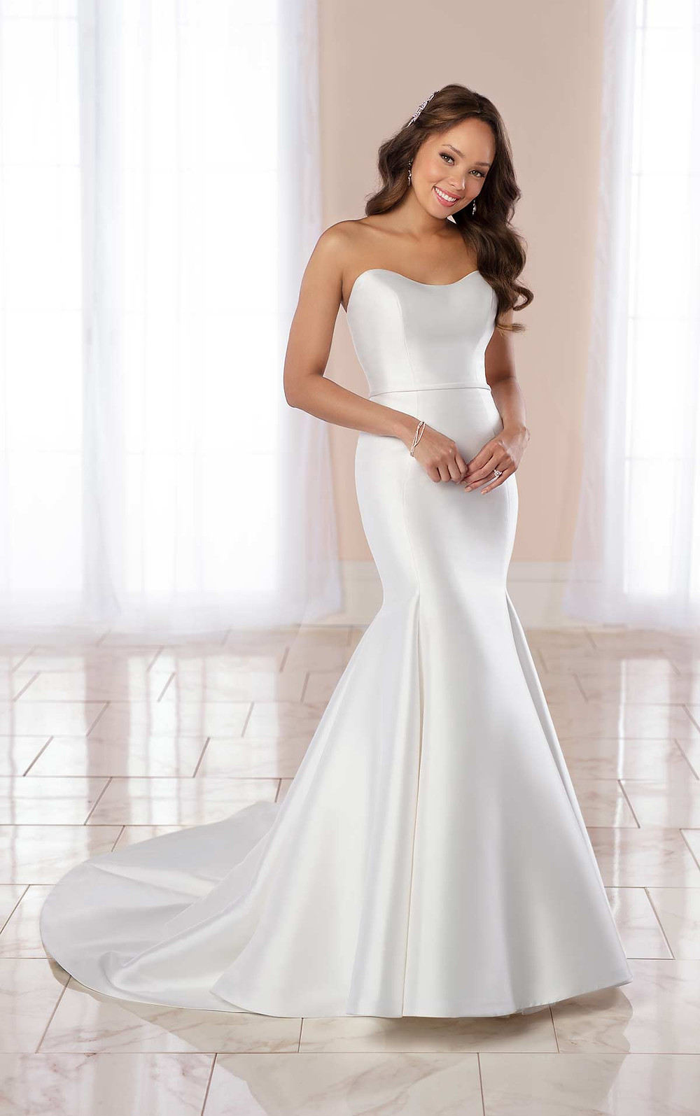A Stella York 2020 simple strapless silk mermaid fit and flare wedding dress