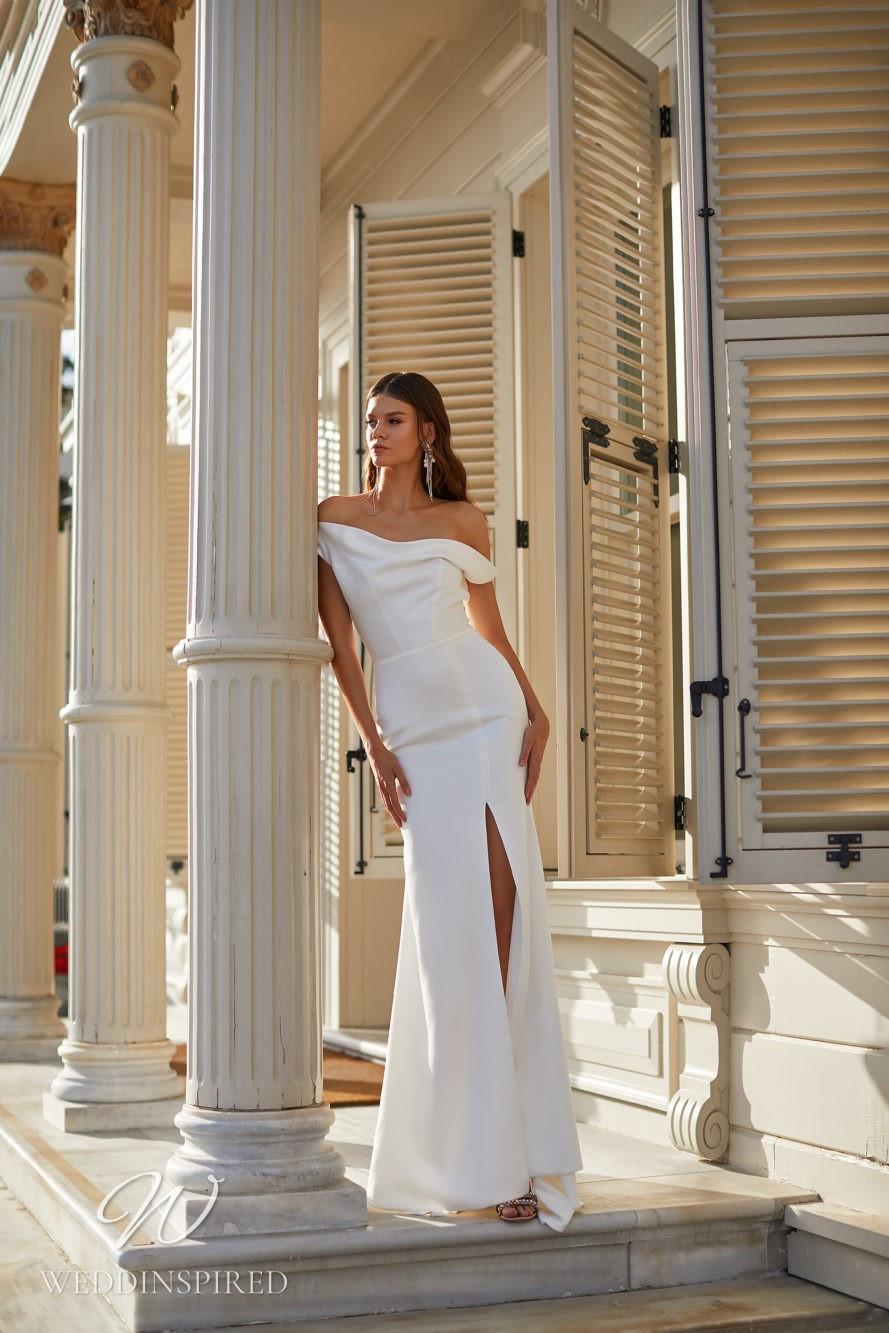 A Milla Nova 2021 simple satin one shoulder mermaid wedding dress with a slit