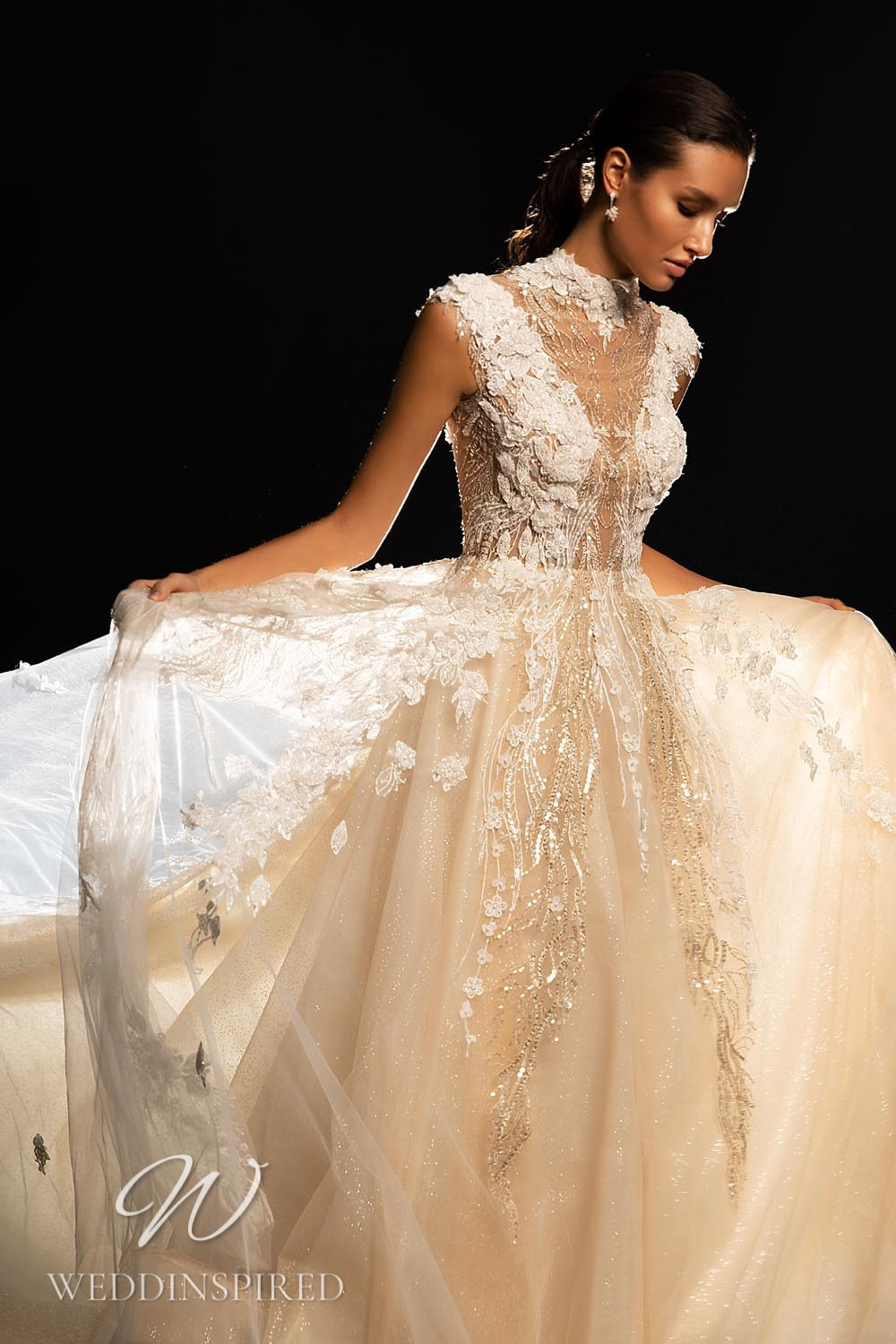 A WONÁ Concept 2021 blush lace and tulle A-line wedding dress