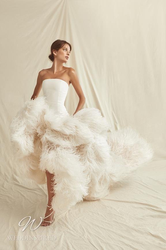 A Oscar de la Renta 2021 strapless feather A-line wedding dress