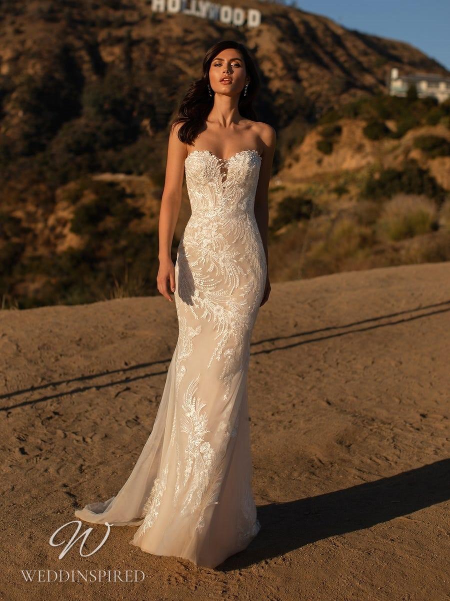 A Pronovias 2021 blush lace strapless mermaid wedding dress