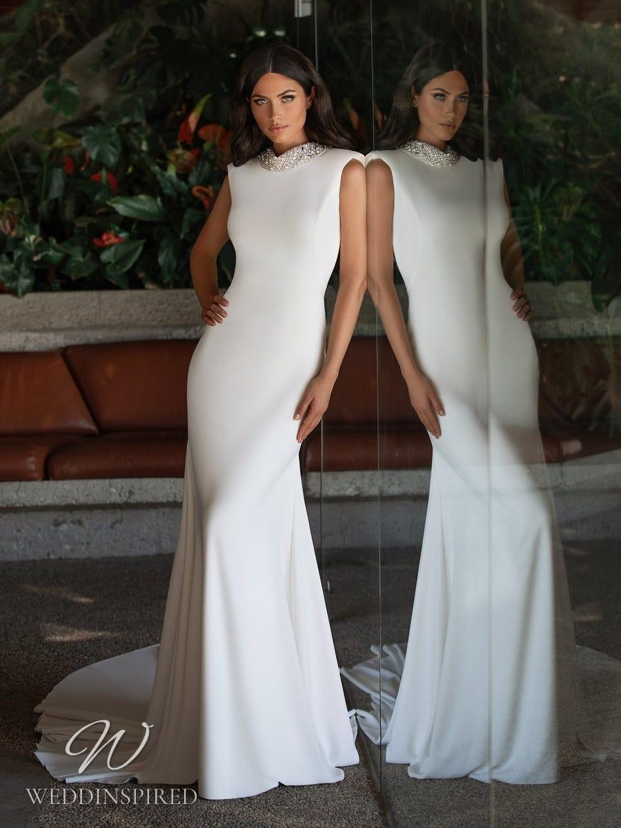 A Pronovias 2021 satin mermaid wedding dress with a high neckline