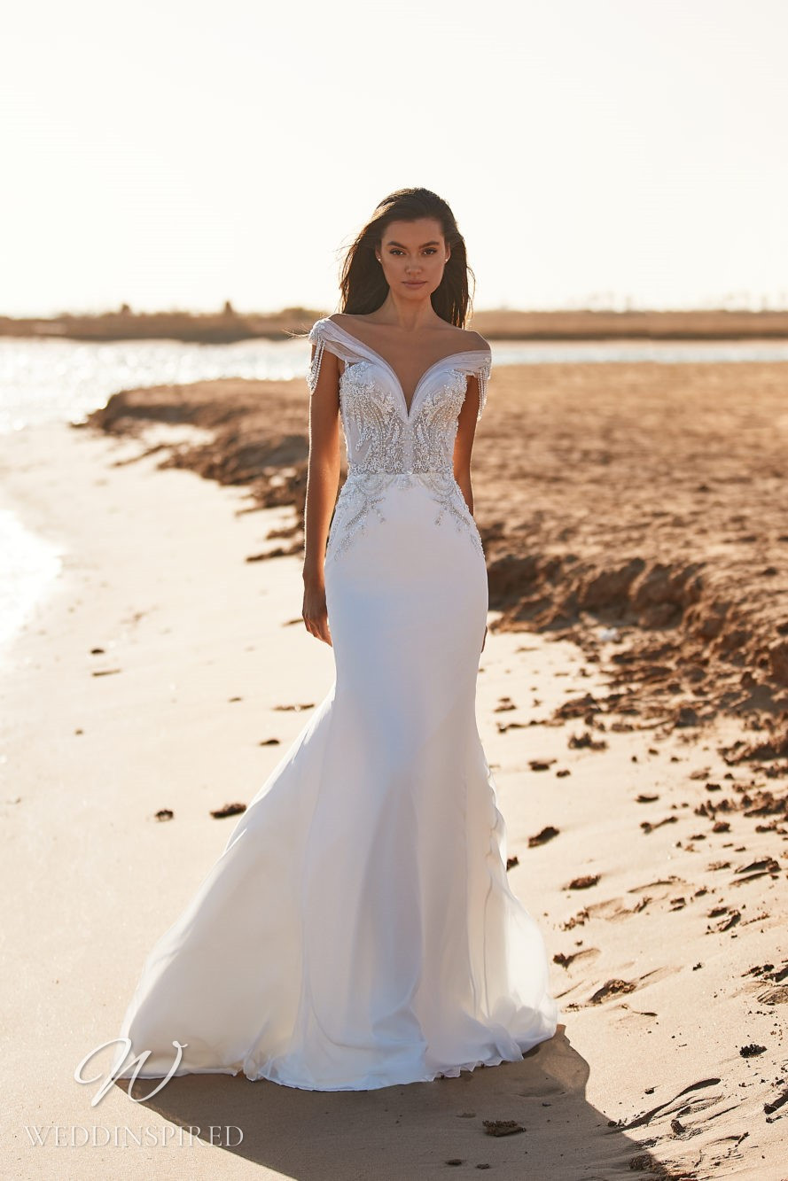 A Milla by Lorenzo Rossi 2021/2022 off the shoulder lace and satin mermaid wedding dress with crystals