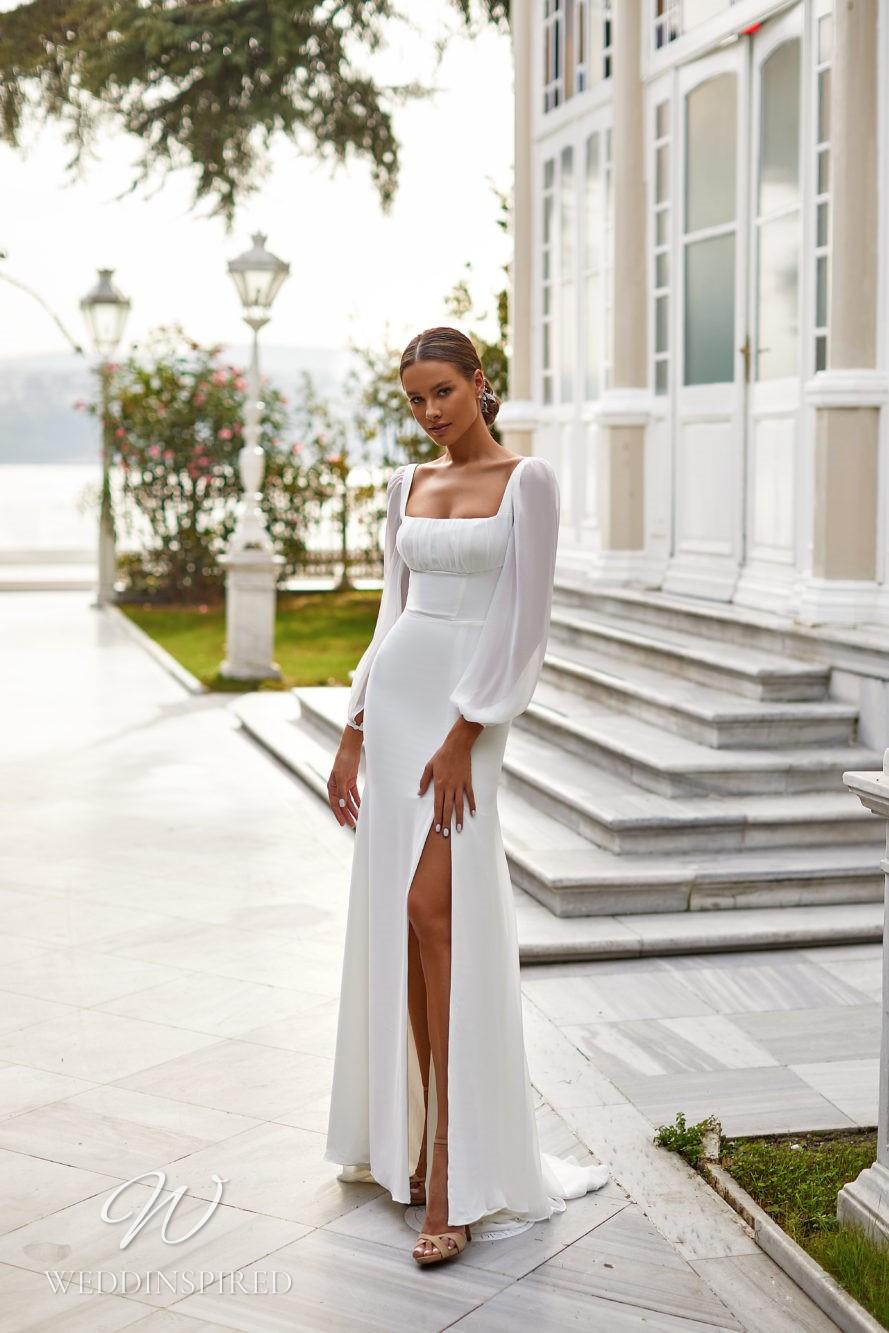 A Milla Nova 2021 simple satin and chiffon sheath wedding dress with long sleeves