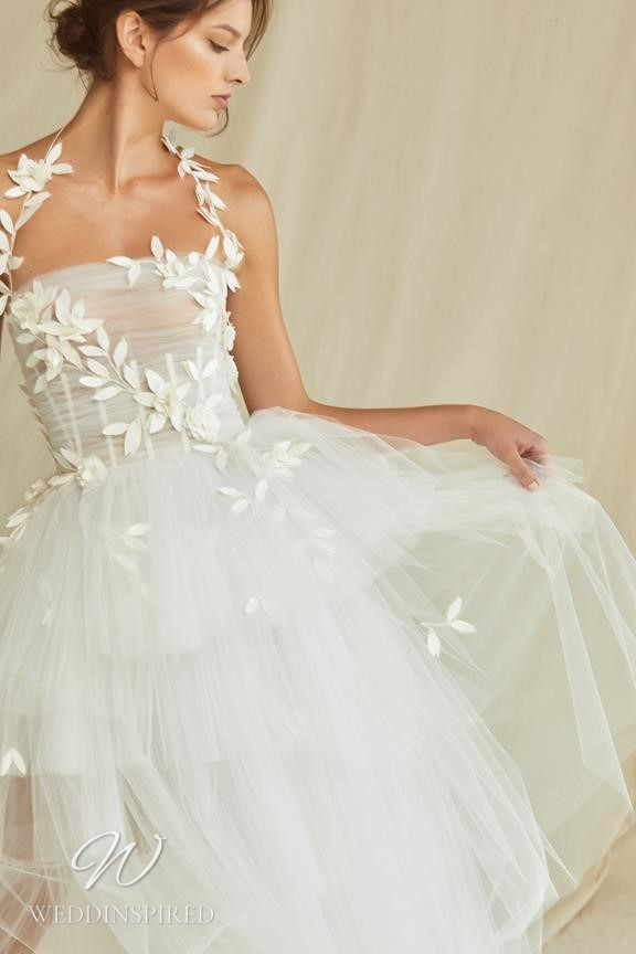 A Oscar de la Renta 2021 tulle halterneck A-line wedding dress
