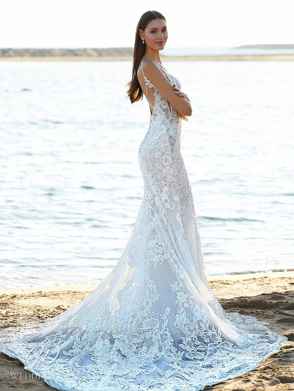 A Blue by Enzoani 2021 lace mermaid wedding dress with straps