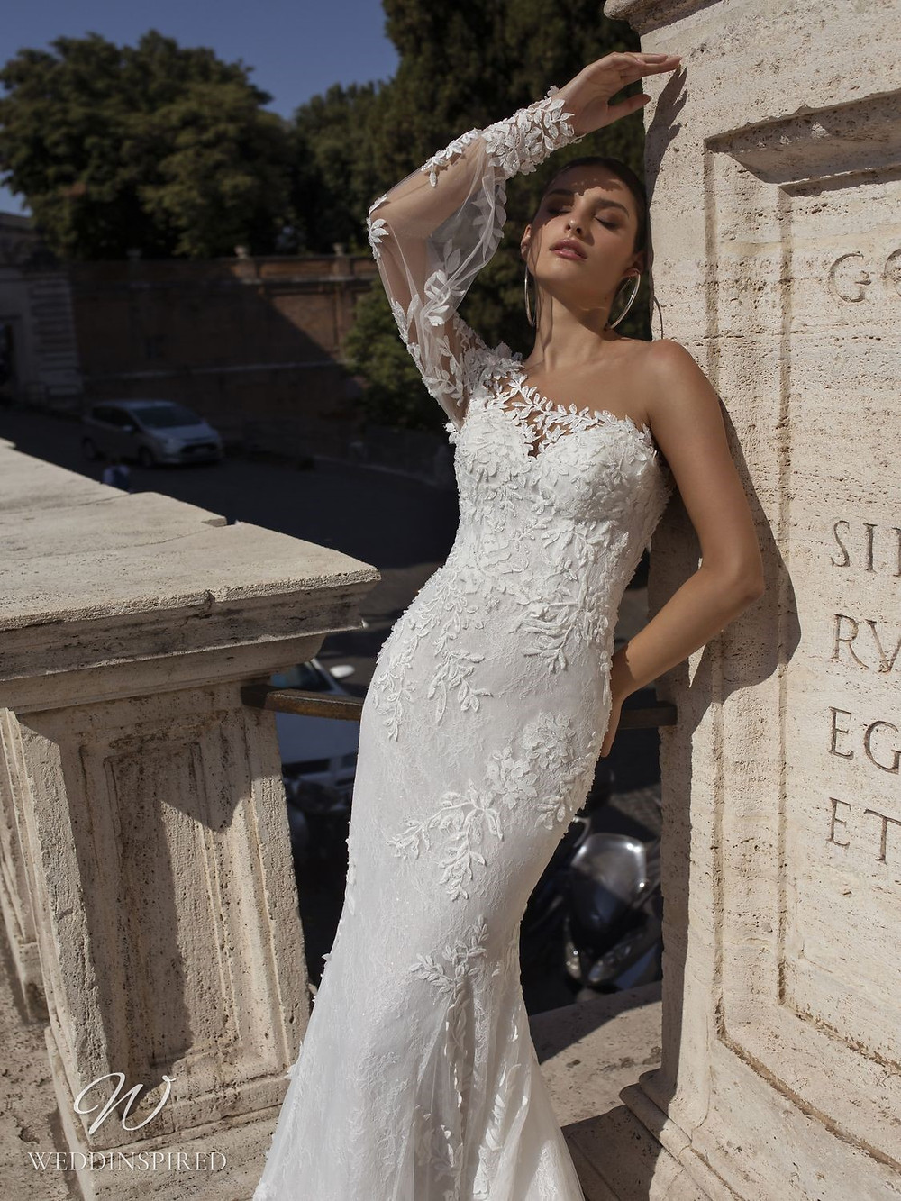 A Pinella Passaro one shoulder lace and tulle mermaid wedding dress
