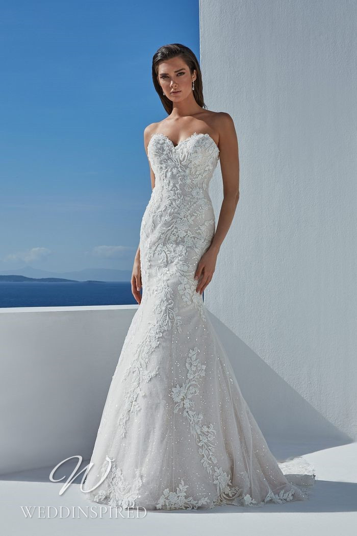 A Justin Alexander 2021 strapless lace mermaid wedding dress