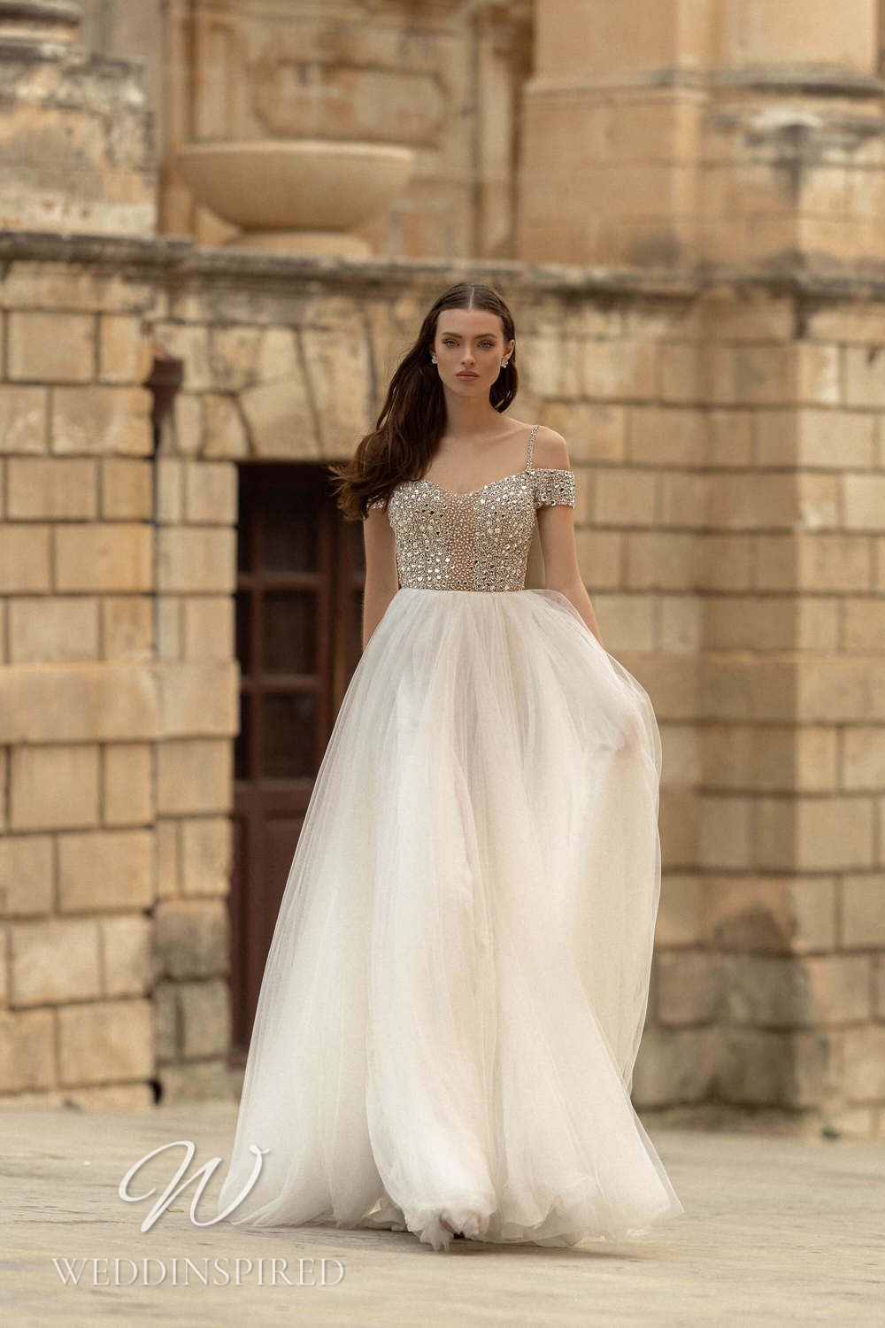 A Lussano 2021 tulle off the shoulder A-line wedding dress