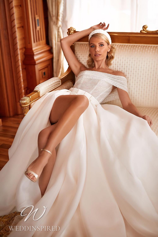 A Pollardi 2021 off the shoulder chiffon A-line wedding dress