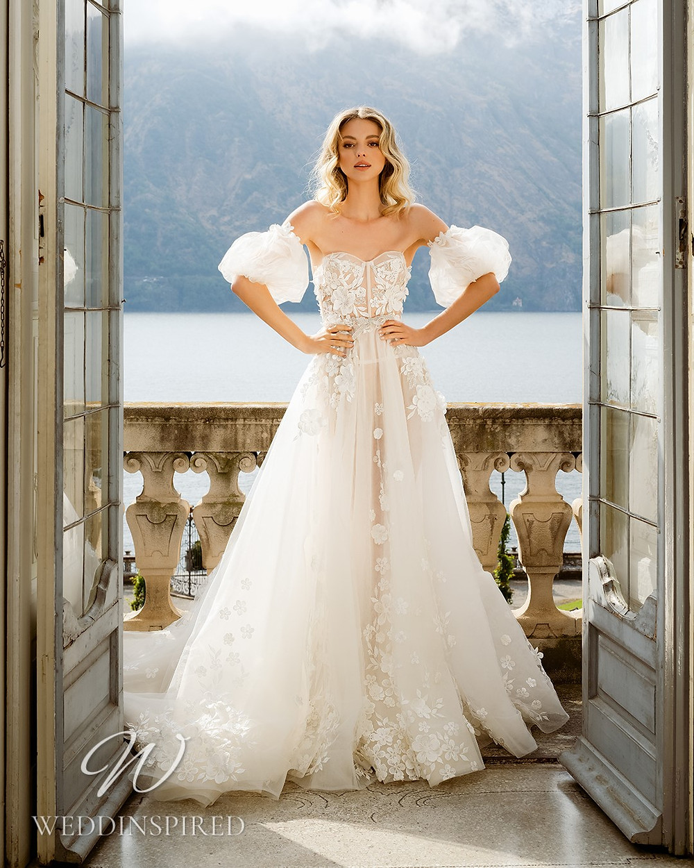 A Berta 2022 strapless flowy tulle A-line wedding dress