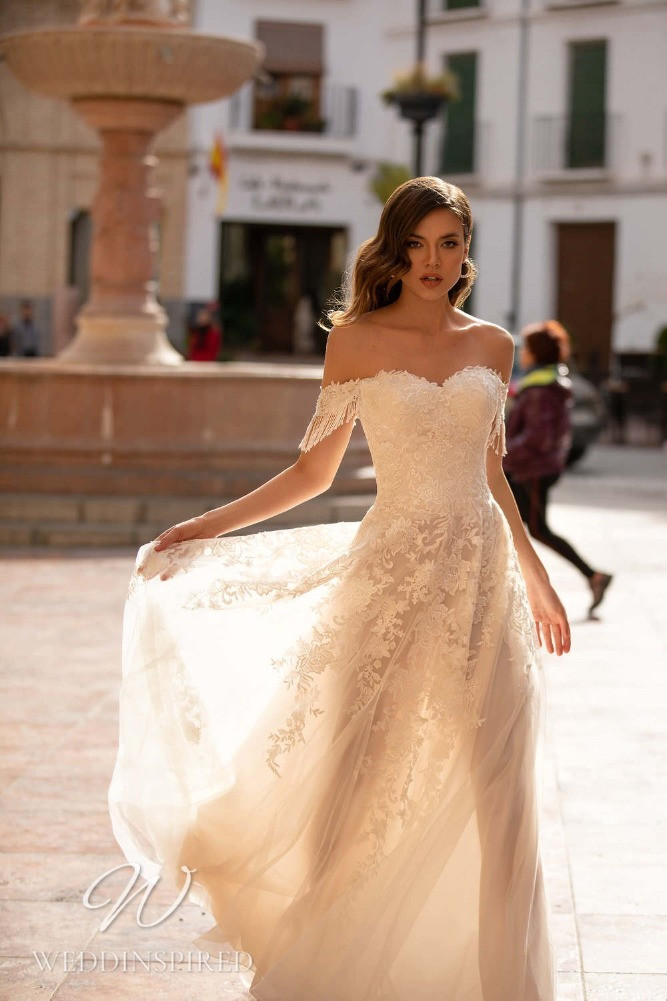 A Nora Naviano 2021 lace and tulle off the shoulder A-line wedding dress